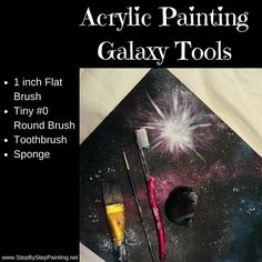 Galaxy Painting - Step By Step Acrylic Painting Tutorial - Karen DeWalt - Galaxy Painting - Step By Step Acrylic Painting Tutorial Beginner painting tutorial How To Paint Galaxy Space With Acrylics - Step By Step Painting - Basic Painting, Acrylic Painting Lessons, Acrylic Painting For Beginners, Step By Step Painting, Beginner Painting, Diy Painting, Digital Painting Tutorials, Acrylic Painting Tutorials, Paint Color Pallets