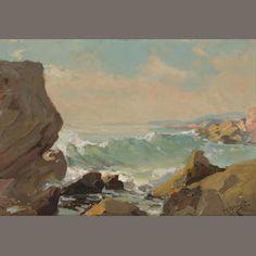 Franz Arthur Bischoff (American, 1864-1929) Waves on a rocky coast 13 x 19in