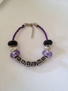 "Baltimore Ravens Football Inspired Beaded Purple Leather Adjustable Bracelet with Silvertone Football Beads 7""-9"""