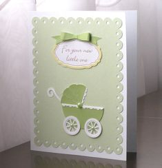 Personalized Baby card with baby carriage embellishment for boy, girl or neutral