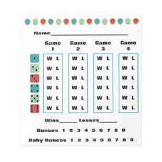 Bunco Dots Bunco Score Card or Bunco Score Sheet  Note Pads - Features easy to score method which is especially welcome after a few rounds of wine!