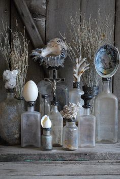 ∷ Variations on a Theme ∷ Collection of altered antique bottles