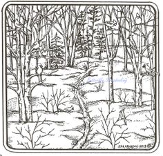 Bird Cardinal Winter Scene Wood Mounted Rubber Stamp Northwoods Rubber Stamp New