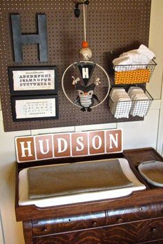 pegboard with baskets for changing table. neat idea for baby boys room. Would probably paint the pegboard and baskets. Baby Boy Rooms, Baby Boy Nurseries, Baby Boys, Small Nurseries, Project Nursery, Nursery Decor, Nursery Ideas, Rustic Nursery, Vintage Nursery