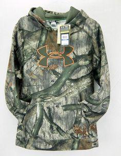 Under Armour Mens ColdGear Hunt Fleece Hoodie Loose Fit Mossy Oak Camo Size XL #UnderArmour #Hoodie