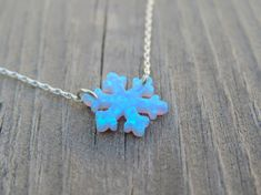 Opal necklace opal snowflake necklace Blue opal necklace