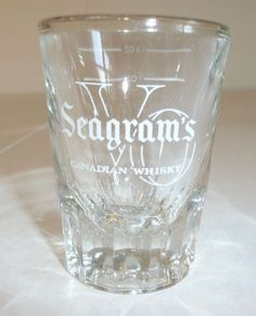 Vintage Seagram's V.O. Shot Glass - Very Thick - Seagrams VO w Measurement Lines