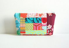 Quilted Patchwork Makeup Bag Cosmetic Case by PinkLadyDesigns