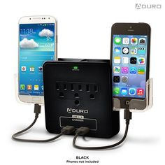 Aduro Surge Dual-USB 3-Outlet Phone Holder Charging Station - Assorted Colors at 62% Savings off Retail!