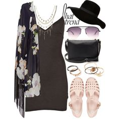 745. Good Lovin by adc421 on Polyvore featuring Jen Kao, Reverse, River Island, Forever 21, ASOS, Equipment, floppyhat, kimono and slipdress
