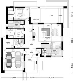 Projekt domu Hiacynt 210,18 m2 - koszt budowy - EXTRADOM Small Modern House Plans, Modern Family House, Small House Floor Plans, Dream House Plans, Interior Design Tools, House Plans Mansion, House Design Pictures, Model House Plan, Home Design Software