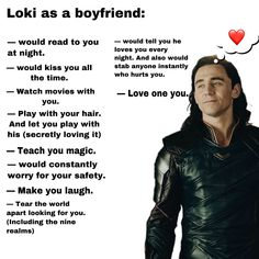 Loki's your dream BF. Ever wonder what he would be like? One word.Loki's your dream BF. Ever wonder what he would be like? One word. Tom Hiddleston Loki, Tom Hiddleston Funny Tumblr, Loki Funny, Marvel Funny, Loki Imagines, Avengers Imagines, Avengers Memes, Marvel Memes, Marvel Facts