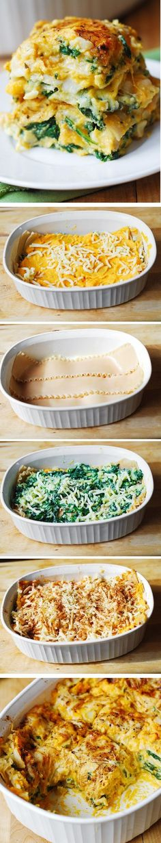 Butternut Squash and Spinach Three Cheese Lasagna: healthy, vegetarian pasta dinner (For gluten free version, use Tinkyada brown rice lasagna noodles)