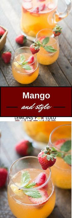 This mango sangria is so refreshing! Sweet mangos and strawberries are combined with a light wine and vodka to bring you a little taste of summer in a glass!