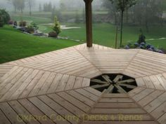 Octagonal deck: decking Bamboo Decking, Patio Fence, Outdoor Spaces, Outdoor Decor, Decks, Project Ideas, House, Home Decor, Outdoor Living Spaces