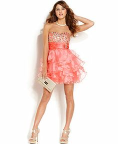 Roberta Juniors' Strapless Rhinestone Organza Dress
