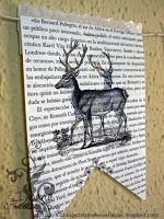 paper bunting, image printed on book page and colored with colored pencils. Image from The Graphics Fairy