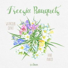 Freesia Bouquets Hand Painted Clipart Watercolor. von ReachDreams