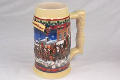 VINTAGE 2003 NEW OLD STOCK BUDWEISER CLYDESDALES HOLIDAY STEIN OLD TOWNE HOLIDAY
