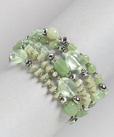 Loving this Green & Silver Bead Stretch Bracelet Set on #zulily! #zulilyfinds