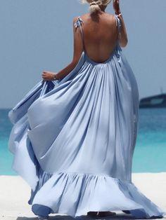 Spaghetti Strap Plain Maxi Dress – Bellalike