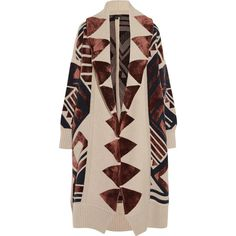 Intarsia knitted blanket coat (164.750 RUB) ❤ liked on Polyvore featuring outerwear, coats, jackets, coats & jackets, burberry coat, burberry and brown coat