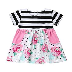 Wesracia Baby Girls Flower Sling Dress Summer Floral Casual Dress