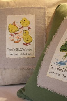 how to make pillows out of vintage childrens books, on my blog today!