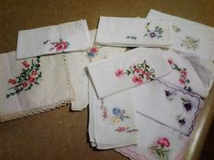 Ten Vintage Embroidered Hankerchieves - Some Lace -