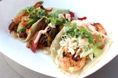 In honor of TGIF we present to you some of our finest fare: (L to R) Chilorio, Veggie & Shrimp Tacos.  Enjoy them today 11A - 2P at Griffin Towers (5 Hutton Centre Drive, Santa Ana CA).  Hope to see you there!  More info: http://www.sohotaco.com/2013/08/16/kick-off-the-weekend-right-lets-have-lunch-today-at-griffin-towers  #taco #tacos #gourmettacos #food #foodtruck #gourmetfoodtruck #griffintowers #southcoastmetro #santaana #oc #orangecounty #tgif #nom