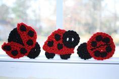 Cute little ladybug crochet appliques