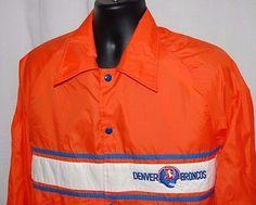Vtg Stahl Urban Denver Broncos M Light Jacket Snap Front Orange Windbreaker