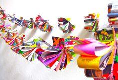 Guirnaldas de flor ♥ hechas con revistas   #Artividades