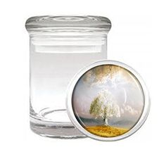 """Medical Glass Stash Jar Tree of Life S2 Air Tight Lid 3"""" x 2"""" Small Storage Herb & Spices Wisdom Spiritual Wise Knowledge"""