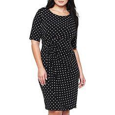 Short-Sleeve Dot Print Dress - Plus - jcpenney  $40