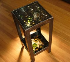 wine bottle table...I can't wait to get my bottle cutter!! I need to start drinking more!!