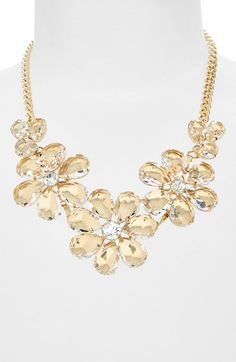 BP. Floral Crystal Statement Necklace (Juniors) available at #Nordstrom