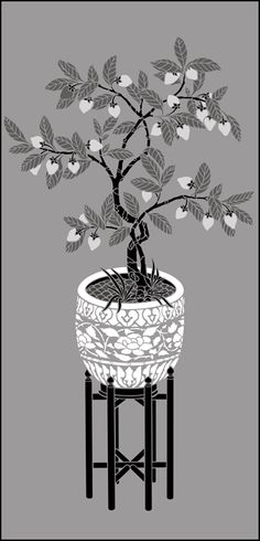 Chinese Style Strawberry Planter stencils, stensils and stencles