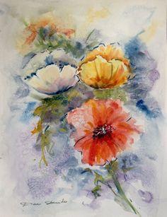 Aquarelle Originale Dam Domido Coquelicots Poppy Fleurs Flowers Akoun watercolor