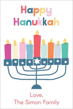 Personalized Colorful Happy Hanukkah Gift Stickers