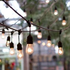 Vintage drop lights like this across the space #PinMyDreamBackyard