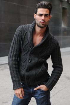 My hubbie would never wear that sweater but, this guy is really hot, therefore...pinned.