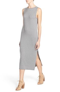 Free shipping and returns on Stem Stripe Scoop Back Midi Dress at Nordstrom.com. Slim stripes pattern a supersoft and comfy stretch-knit dress cut with a scooped back, trendy midi length and breezy side slit. The sleeveless styling makes this easy, figure-skimming style perfect for layering or wearing alone on warmer days.