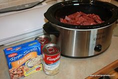 crockpot round steak - I added 4 oz of sliced cremini mushrooms over the beef before adding the sauce, 2 rosemary sprigs on top of the sauce, I substituted beef broth for the water (you could also substitute white or red wine). I used Knorr French onion soup mix.