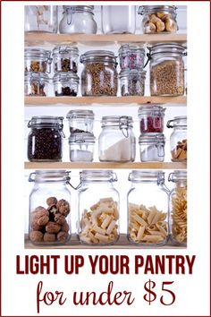 How to Light a Small Closet or Pantry using a Motion Sensor-So easy to light you… Kitchen Pantry, Kitchen Dining, Kitchen Decor, Pantry Closet, Kitchen Ideas, Kitchen Organization, Organization Hacks, Pantry Lighting, Small Pantry