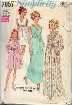 Simplicity 7957  1960s Misses Empire Waist Peignoir Robe Negligee Nightgown womens vintage sewing pattern by mbchills