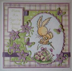 LOTV spring bunny, coloured with Copics, papers by Nitwits, die cuts by Marianne Design