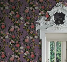 GARDEN BLOOM (lilac) is inspired by Chinoiserie designs often highly decorative with stylised landscape and blossoming florals. Kingdom Home's creates a garden in full bloom,  exotic selection of peonies and fruits luring gatherings of admiring birds and butterflies.#wallpaper #chinoiserie #interiordesign #lilac #purple #floral #peony #birds #kingdomhome