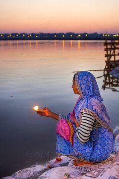 Kumbh Mela Pilgrim on the Ganges - Allahabad, India