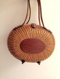Vintage Basket Handbag 1950's Genuine Leather von LorasVintageShop